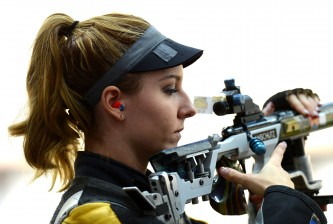 LONDON, ENGLAND - AUGUST 04:  Amanda Furrer of the United States competes during Women's 50m Rifle 3 Positions Shooting Qualification on Day 8 of the London 2012 Olympic Game at the Royal Artillery Barracks on August 4, 2012 in London, England.  (Photo by Lars Baron/Getty Images)