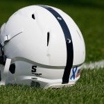 STATE COLLEGE, PA - SEPTEMBER 01: A Penn State Nittany Lions helmet sits on the field during warm ups prior to the start of the Nittany Lions game against the Ohio Bobcats at Beaver Stadium on September 1, 2012 in State College, Pennsylvania.  (Photo by Rob Carr/Getty Images)