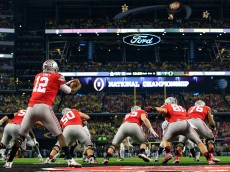 during the College Football Playoff National Championship Game at AT&T Stadium on January 12, 2015 in Arlington, Texas.