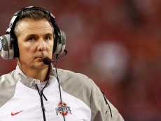 ARLINGTON, TX - JANUARY 12: Head Coach Urban Meyer of the Ohio State Buckeyes looks on against the Oregon Ducks during the College Football Playoff National Championship Game at AT&T Stadium on January 12, 2015 in Arlington, Texas.  (Photo by Christian Petersen/Getty Images)