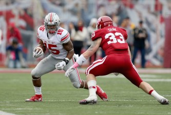 of the Ohio State Buckeyes against the Indiana Hoosiers at Memorial Stadium on October 3, 2015 in Bloomington, Indiana.
