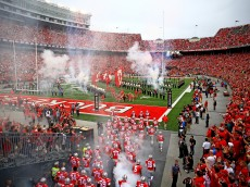 COLUMBUS, OH - SEPTEMBER 19: Ohio State Buckeyes take the field prior to the game against the Northern Illinois Huskies at Ohio Stadium on September 19, 2015 in Columbus, Ohio.  (Photo by Andrew Weber/Getty Images)