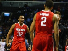 NEW YORK, NY - DECEMBER 19:  Trevor Thompson #32 of the Ohio State Buckeyes celebrates with Marc Loving #2 after defeating the Kentucky Wildcats during their game at the CBS Sports Classic at the Barclays Center on December 19, 2015 in New York City.  (Photo by Al Bello/Getty Images)