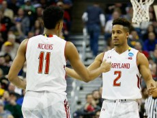 COLUMBUS, OH - MARCH 20:  Melo Trimble #2 and Jared Nickens #11 of the Maryland Terrapins react during the second round of the Men's NCAA Basketball Tournament at Nationwide Arena on March 20, 2015 in Columbus, Ohio.  (Photo by Kirk Irwin/Getty Images)