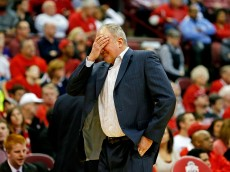 COLUMBUS, OH - DECEMBER 16:  Head Coach Thad Matta of the Ohio State Buckeyes reacts after Jae'Sean Tate #1 of the Ohio State Buckeyes was called for a foul late in the second half of the game against the Northern Illinois Huskies at Value City Arena on December 16, 2015 in Columbus, Ohio. Ohio State defeated Northern Illinois 67-54. (Photo by Kirk Irwin/Getty Images)