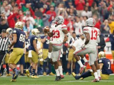 GLENDALE, AZ - JANUARY 01:  Safety Tyvis Powell #23 of the Ohio State Buckeyes celebrates his third quarter interception during the BattleFrog Fiesta Bowl against the Notre Dame Fighting Irish at University of Phoenix Stadium on January 1, 2016 in Glendale, Arizona.  (Photo by Christian Petersen/Getty Images)