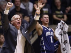 WEST LAFAYETTE, IN - JANUARY 13:  Head coach Patrick Chambers of the Penn State Nittany Lions is seen during the game against the Purdue Boilermakers at Mackey Arena on January 13, 2016 in West Lafayette, Indiana. Purdue defeated Penn State 74-57. (Photo by Michael Hickey/Getty Images)