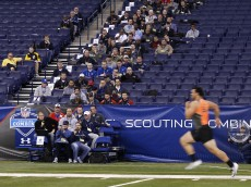 INDIANAPOLIS, IN - FEBRUARY 22: Former Texas A&M offensive lineman Jake Matthews runs the 40-yard dash during the 2014 NFL Combine at Lucas Oil Stadium on February 22, 2014 in Indianapolis, Indiana. (Photo by Joe Robbins/Getty Images)