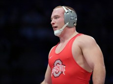 STATE COLLEGE, PA - FEBRUARY 5: Kyle Snyder of the Ohio State Buckeyes during a match against the Penn State Nittany Lions on February 5, 2016 at Recreation Hall on the campus of Penn State University in State College, Pennsylvania. Penn State won 24-14. (Photo by Hunter Martin/Getty Images)