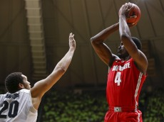 WEST LAFAYETTE, IN - JANUARY 21: Daniel Giddens #4 of the Ohio State Buckeyes shoots the ball against A.J. Hammons #20 of the Purdue Boilermakers at Mackey Arena on January 21, 2016 in West Lafayette, Indiana. Purdue defeated Ohio State 75-64. (Photo by Michael Hickey/Getty Images)