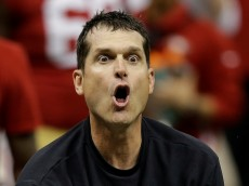 San Francisco 49ers head coach Jim Harbaugh protests a non-call by the officials after a fourth down play during the second half of the NFL Super Bowl XLVII football game against the Baltimore Ravens, Sunday, Feb. 3, 2013, in New Orleans. (AP Photo/Gene Puskar) ORG XMIT: SB475