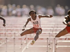 LOS ANGELES - JUNE 23:  Stephanie Hightower (#133), and Kim Turner (#233) compete in the final of the Women's 100m Hurdles event at the 1984 USA Track and Field Olympic Trials held on June 23, 1984 at the Los Angeles Colisseum in Los Angeles, California. (Photo by David Madison/Getty Images) *** Local Caption *** Stephanie Hightower;Kim Turner