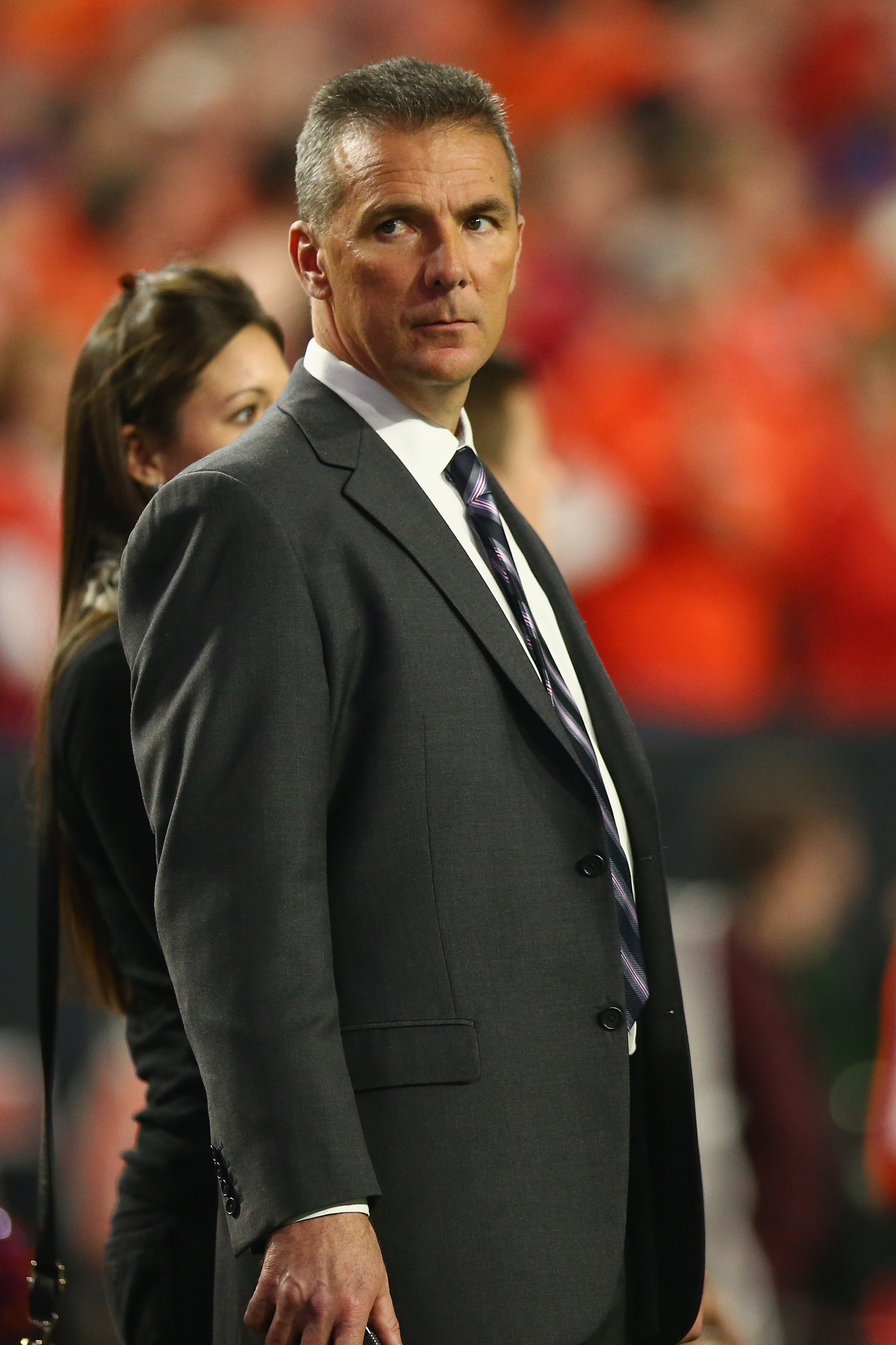 GLENDALE, AZ - JANUARY 11:  Head coach Urban Meyer of the Ohio State Buckeyes is seen during the 2016 College Football Playoff National Championship Game at University of Phoenix Stadium on January 11, 2016 in Glendale, Arizona.  (Photo by Ronald Martinez/Getty Images)