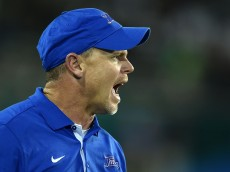 NEW ORLEANS, LA - NOVEMBER 27:  Head coach Philip Montgomery of the Tulsa Golden Hurricane yells to his team during the second half of a game against the Tulane Green Wave at Yulman Stadium on November 27, 2015 in New Orleans, Louisiana.  (Photo by Stacy Revere/Getty Images)