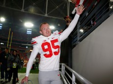 GLENDALE, AZ - JANUARY 01: Punter Cameron Johnston #95 of the Ohio State Buckeyes walks off the field before the BattleFrog Fiesta Bowl against the Notre Dame Fighting Irish at University of Phoenix Stadium on January 1, 2016 in Glendale, Arizona.  (Photo by Christian Petersen/Getty Images)