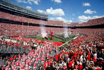 COLUMBUS, OH - SEPTEMBER 3:  The Ohio State Buckeyes run on to the field prior to the start of the game against the Bowling Green Falcons on September 3, 2016 at Ohio Stadium in Columbus, Ohio. (Photo by Kirk Irwin/Getty Images)