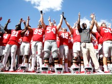 "COLUMBUS, OH - SEPTEMBER 3:  Members of the Ohio State Buckeyes celebrate their 77-10 victory over the Bowling Green Falcons while singing ""Carmen Ohio"" on September 3, 2016 at Ohio Stadium in Columbus, Ohio. Ohio State defeated Bowling Green 77-10. (Photo by Kirk Irwin/Getty Images)"