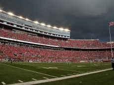 COLUMBUS, OH - SEPTEMBER 10:  Storm clouds roll in over Ohio Stadium in the second quarter of a game between the Tulsa Hurricane and the Ohio State Buckeyes on September 10, 2016 in Columbus, Ohio. The second half was delayed because of severe weather.  (Photo by Jamie Sabau/Getty Images)