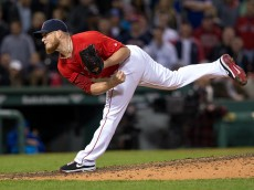BOSTON, MA - APRIL 15: Craig Kimbrel #46 of the Boston Red Sox pitches during the ninth inning against the Toronto Blue Jays at Fenway Park on April 15, 2016 in Boston, Massachusetts. All players are wearing #42 in honor of Jackie Robinson Day. The Red Sox won 5-3. (Photo by Rich Gagnon/Getty Images) *** Local Caption *** Craig Kimbrel