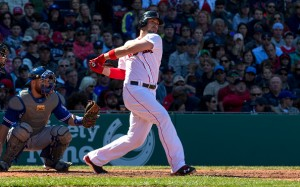 BOSTON, MA - APRIL 17: Travis Shaw #47 of the Boston Red Sox hits a foul ball during the fourth inning against the Toronto Blue Jays at Fenway Park on April 17, 2016 in Boston, Massachusetts. The Blue Jays won 5-3. (Photo by Rich Gagnon/Getty Images)
