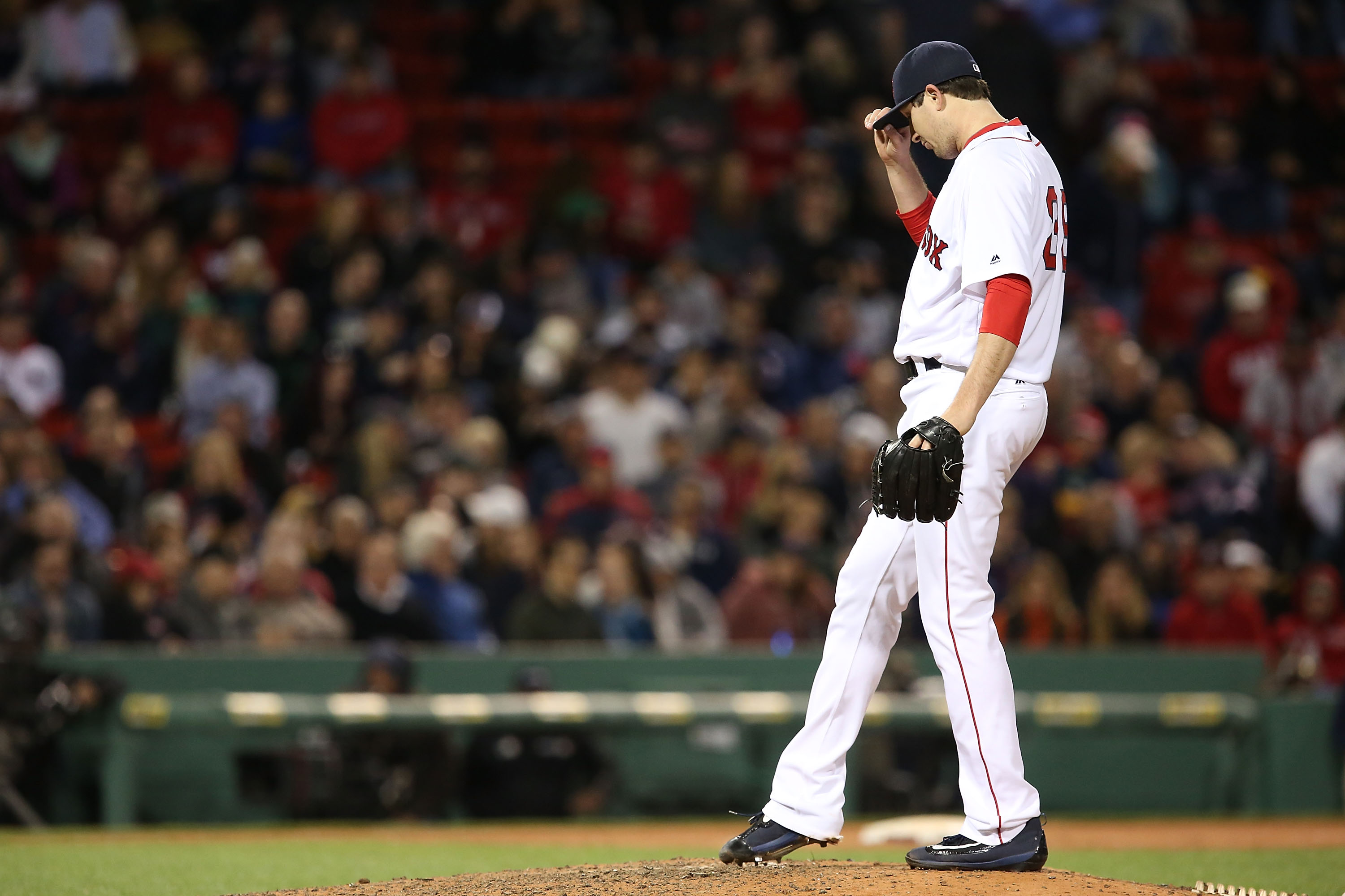 BOSTON, MA - MAY 09:  Carson Smith #39 of the Boston Red Sox looks on in the seventh inning during the game against the Oakland Athletics at Fenway Park on May 9, 2016 in Boston, Massachusetts.  (Photo by Adam Glanzman/Getty Images)