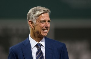 BOSTON, MA - SEPTEMBER 18: Dave Dombrowski the President of Baseball Operations of the Boston Red Sox stands at home plate before a game against the New York Yankees at Fenway Park on September 18, 2016 in Boston, Massachusetts. The Red Sox won 5-4. (Photo by Rich Gagnon/Getty Images)