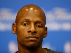 SAN ANTONIO, TX - JUNE 14:  Ray Allen #34 of the Miami Heat speaks to the media on an off day following Game Four of the 2014 NBA Finals against the San Antonio Spurs at the Spurs Practice Facility on June 14, 2014 in San Antonio, Texas. NOTE TO USER: User expressly acknowledges and agrees that, by downloading and or using this photograph, User is consenting to the terms and conditions of the Getty Images License Agreement.  (Photo by Andy Lyons/Getty Images)