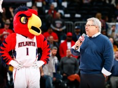 ATLANTA, GA - FEBRUARY 25:  Harry the Hawk stands as CEO Steve Koonin of the Atlanta Hawks and Philips Arena thanks the fans for their support after their 104-87 win over the Dallas Mavericks at Philips Arena on February 25, 2015 in Atlanta, Georgia.  NOTE TO USER: User expressly acknowledges and agrees that, by downloading and or using this photograph, User is consenting to the terms and conditions of the Getty Images License Agreement.  (Photo by Kevin C. Cox/Getty Images)