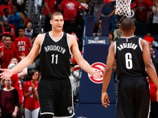 ATLANTA, GA - APRIL 19:  Brook Lopez #11 of the Brooklyn Nets reacts after a turnover to the Atlanta Hawks in the final minutes of their 99-92 loss during Game One of the Eastern Conference Quarterfinals of the NBA Playoffs at Philips Arena on April 19, 2015 in Atlanta, Georgia.  NOTE TO USER: User expressly acknowledges and agrees that, by downloading and/or using this photograph, user is consenting to the terms and conditions of the Getty Images License Agreement.  (Photo by Kevin C. Cox/Getty Images)