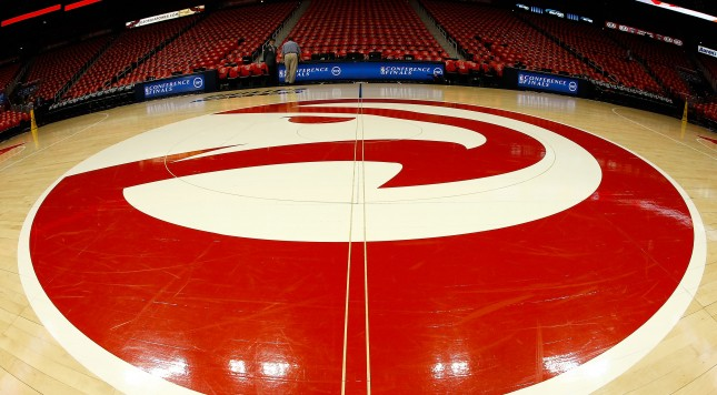 ATLANTA, GA - MAY 22:  A view of center court before Game Two of the Eastern Conference Finals between the Atlanta Hawks and the Cleveland Cavaliers of the 2015 NBA Playoffs at Philips Arena on May 22, 2015 in Atlanta, Georgia.  NOTE TO USER: User expressly acknowledges and agrees that, by downloading and or using this photograph, user is consenting to the terms and conditions of the Getty Images Licensing Agreement.  (Photo by Mike Zarrilli/Getty Images)