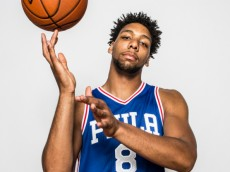 TARRYTOWN, NY - AUGUST 8: Jahlil Okafor #8 of the Philadelphia 76ers poses for a portrait during the 2015 NBA rookie photo shoot on August 8, 2015 at the Madison Square Garden Training Facility in Tarrytown, New York.