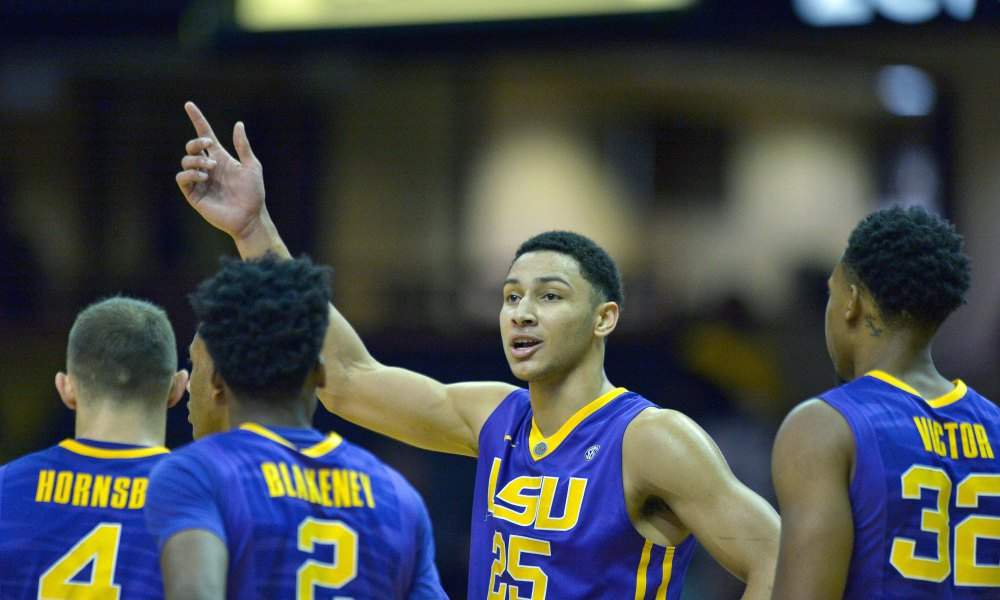 Jan 2, 2016; Nashville, TN, USA; LSU Tigers forward Ben Simmons (25) talks with teammates Tigers guard Keith Hornsby (4) and Tigers guard Antonio Blakeney (2) and Tigers forward Craig Victor II (32) during a  second half time out against the Vanderbilt Commodores at Memorial Gym. LSU won 90-82. Mandatory Credit: Jim Brown-USA TODAY Sports ORG XMIT: USATSI-239774 ORIG FILE ID:  20160102_tdc_ab2_288.JPG