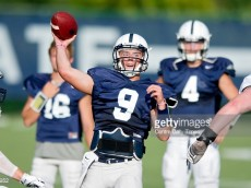 Penn State quarterback Trace McSorley (9) throws during practice on Wednesday, Aug. 12, 2015, in University Park, Pa. (Abby Drey/Centre Daily Times/TNS)