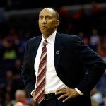 MEMPHIS, TN - MARCH 27:  Head coach Johnny Dawkins of the Stanford Cardinal looks on during a regional semifinal of the 2014 NCAA Men's Basketball Tournament against the Dayton Flyers at the FedExForum on March 27, 2014 in Memphis, Tennessee.  (Photo by Kevin C. Cox/Getty Images)