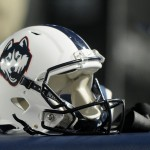 PROVO, UT - OCTOBER 2: View of a Connecticut Huskies helmet during the game between the Huskies and the Brigham Young Cougars at LaVell Edwards Stadium on October 2, 2015 in Provo Utah. (Photo by Gene Sweeney Jr/Getty Images)