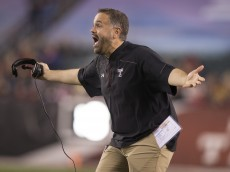 PHILADELPHIA, PA - NOVEMBER 28: Head coach Matt Rhule of the Temple Owls reacts in the game against the Connecticut Huskies on November 28, 2015 at Lincoln Financial Field in Philadelphia, Pennsylvania. (Photo by Mitchell Leff/Getty Images)