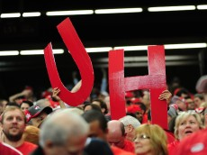 ATLANTA, GA - DECEMBER 31: Fans of the Houston Cougars hold up sogns of support against the Florida State Seminoles during the Chick-Fil-A Peach Bowl at the Georgia Dome on December 31, 2015 in Atlanta, Georgia. Photo by Scott Cunningham/Getty Images)
