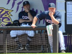 April 22, 2016 UConn head coach Jim Penders and assistant coach Jeff Hourigan in the game between the UConn Huskies and the East Carolina Pirates at Clark-LeClair Stadium  in Greenville, NC. East Carolina defeated UConn 2 - 1 in 10 innings. (Photograph by Greg Thompson / Icon Sportswire)