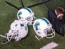 October 16, 2015: Tulane Green Wave helmets  during the game between the Tulane Green Wave and the Houston Cougars at the Benson Field at Yulman Stadium in New Orleans, LA.  (Photo by Stephen Lew/Icon Sportswire)