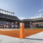 AUSTIN, TX - SEPTEMBER 6: An end zone pylon in a general view of Darrell K Royal-Texas Memorial Stadium before the BYU Cougars play the Texas Longhorns on September 6, 2014 in Austin, Texas. (Photo by Chris Covatta/Getty Images)