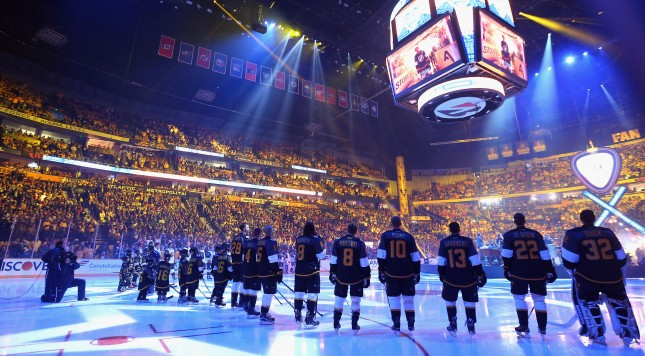 NASHVILLE, TN - JANUARY 31:  Pacific Division players look on prior to the 2016 Honda NHL All-Star Game at Bridgestone Arena on January 31, 2016 in Nashville, Tennessee.  (Photo by Bruce Bennett/Getty Images)