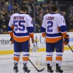 Oct 23, 2014; Boston, MA, USA; New York Islanders defenseman Johnny Boychuk (55) and defenseman Nick Leddy (2) during the national anthems prior to the start of a game against the Boston Bruins  period at TD Banknorth Garden.</p /> </p><!-- google_ad_section_end --></div>     <div class=