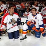 COLUMBUS, OH - JANUARY 24:  Aaron Ekblad #5 of the Florida Panthers and Team Toews talks with John Tavares #91 of the New York Islanders and Team Toews during the Bridgestone NHL Fastest Skater event of the 2015 Honda NHL All-Star Skills Competition at Nationwide Arena on January 24, 2015 in Columbus, Ohio.  (Photo by Bruce Bennett/Getty Images)