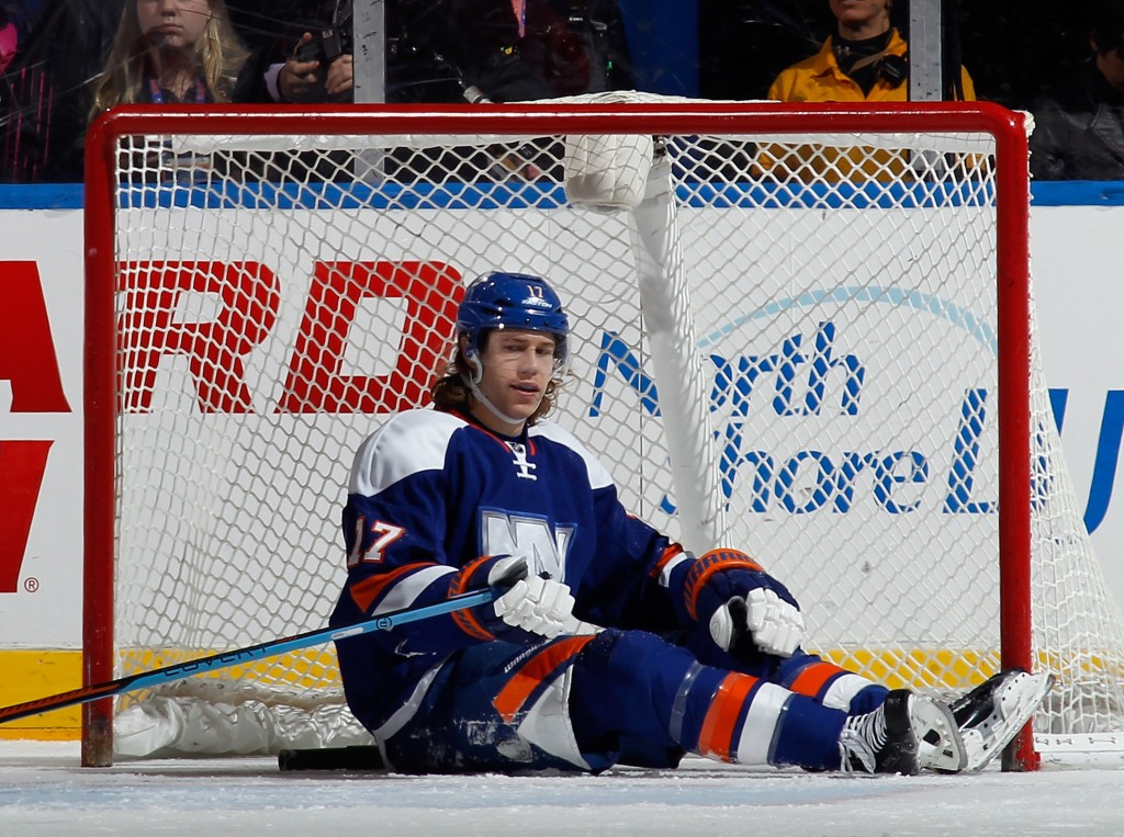 UNIONDALE, NY - FEBRUARY 28: Matt Martin #17 of the New York Islanders sits in the crease after play is called during the first period against the Carolina Hurricanes at the Nassau Veterans Memorial Coliseum on February 28, 2015 in Uniondale, New York.</p /> </p><!-- google_ad_section_end --></div>     <div class=