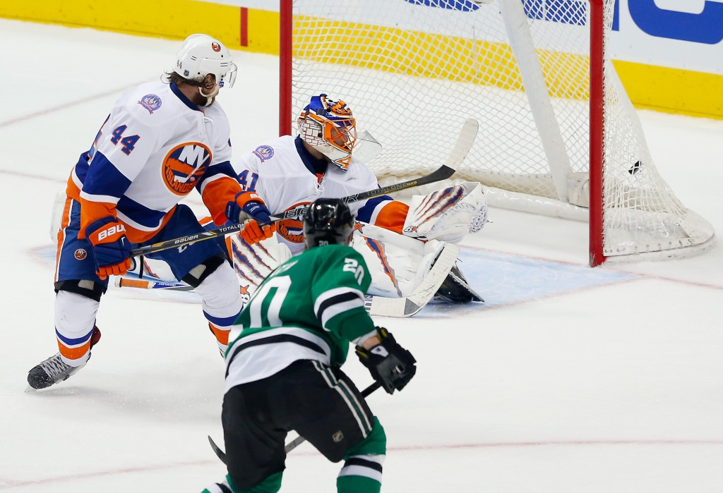 DALLAS, TX - MARCH 03:  Cody Eakin #20 of the Dallas Stars scores the game winning goal against Jaroslav Halak #41 of the New York Islanders ad Calvin de Haan #44 of the New York Islanders defends in overtime at American Airlines Center on March 3, 2015 in Dallas, Texas.</p /> </p><!-- google_ad_section_end --></div>     <div class=
