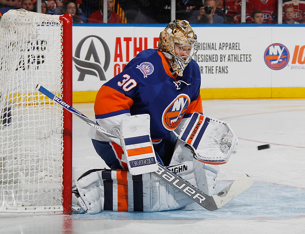 UNIONDALE, NY - MARCH 14:  Michal Neuvirth #30 of the New York Islanders tends net against the Montreal Canadiens at the Nassau Veterans Memorial Coliseum on March 14, 2015 in Uniondale, New York. The Canadiens defeated the Islanders 3-1.  (Photo by Bruce Bennett/Getty Images)
