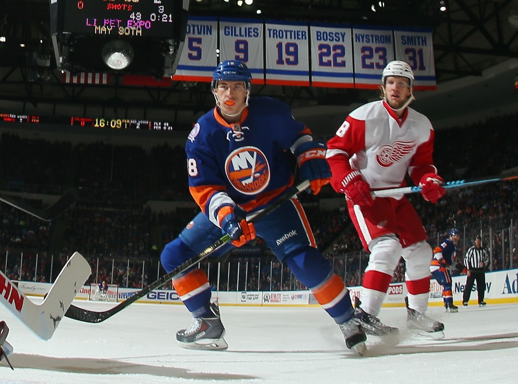 UNIONDALE, NY - MARCH 29: Ryan Strome #18 of the New York Islanders skates against the Detroit Red Wings at the Nassau Veterans Memorial Coliseum on March 29, 2015 in Uniondale, New York. The Islanders defeated the Red Wings 5-4.  (Photo by Bruce Bennett/Getty Images)