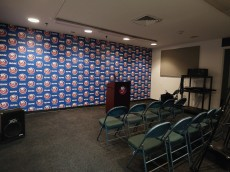 UNIONDALE, NY - APRIL 12:  A general view of the media interview area at the Nassau Veterans Memorial Coliseum on April 12, 2015 in Uniondale, New York. The New York Islanders will vacate the arena at the end of this season.  (Photo by Bruce Bennett/Getty Images)