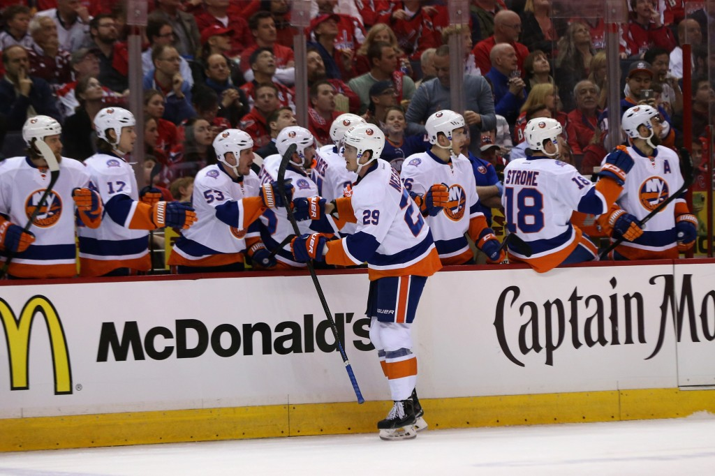 WASHINGTON, DC - APRIL 15: Brock Nelson #29 of the New York Islanders celebrates with the bench after scoring a first period goal against the Washington Capitals in Game One of the Eastern Conference Quarterfinals during the 2015 NHL Stanley Cup Playoffs at Verizon Center on April 15, 2015 in Washington, DC.  (Photo by Rob Carr/Getty Images)