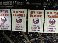 UNIONDALE, NY - JANUARY 29:  The New York Islanders Stanley Cup Championship banners are shown during the game against the Ottawa Senators on January 29, 2008 at Nassau Coliseum in Uniondale, New York. (Photo by Jim McIsaac/Getty Images)